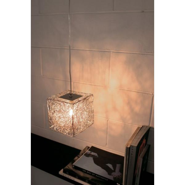 Qubetto S 15 Suspension lamp in anodized aluminium wire 60W G9