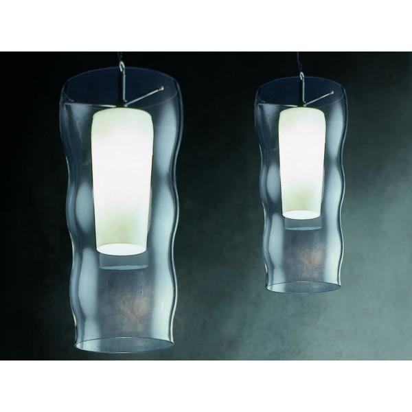 Bodona Maxi lampada a sospensione diffusore in vetro soffiato con pyrex interno 250W E27