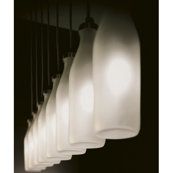 Bottles 8/SO Decentrato Suspension lamp etched glass diffuser Led 4W 2700K E14