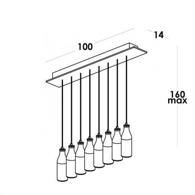 Vesoi, BOTTLES 100/S8 LED, Sospensione