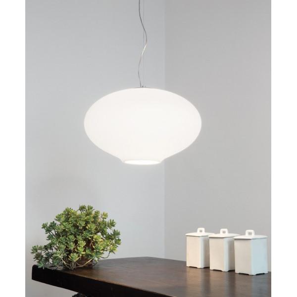 Anita Suspension lamp in triplex blown glass opal white