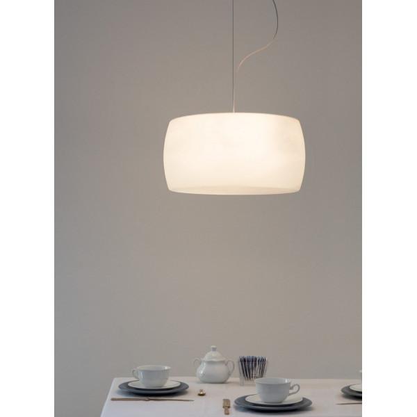 Diffuseur de lampe à suspension Sirius en verre soufflé opalin triplex blanc 40W G9