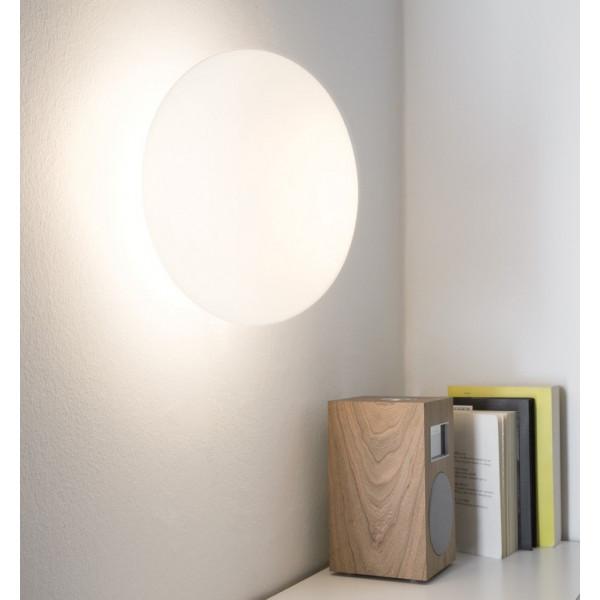 Maga lampada da parete diffusore in vetro soffiato opalino 46W E14