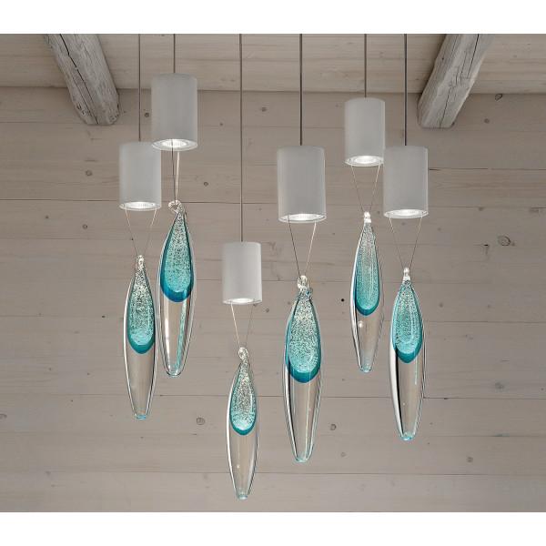 Lampe suspension anima PL6 goutte de cristal 35W GU10