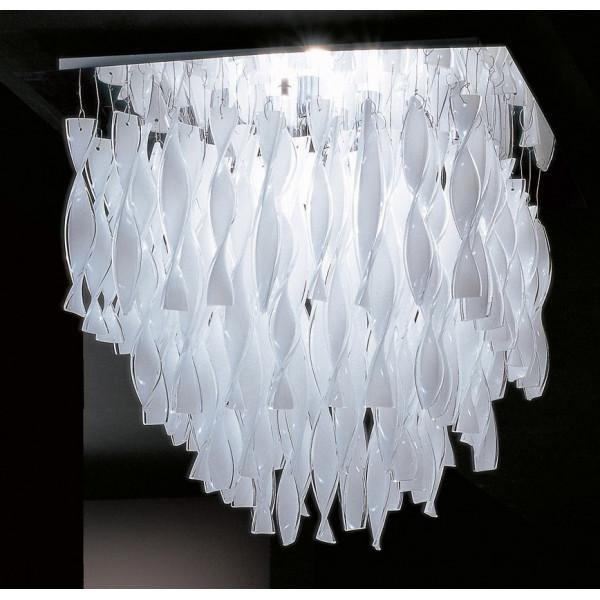 PL Aura P montatura cromo lampada da soffitto in vetro di Murano 100W E27
