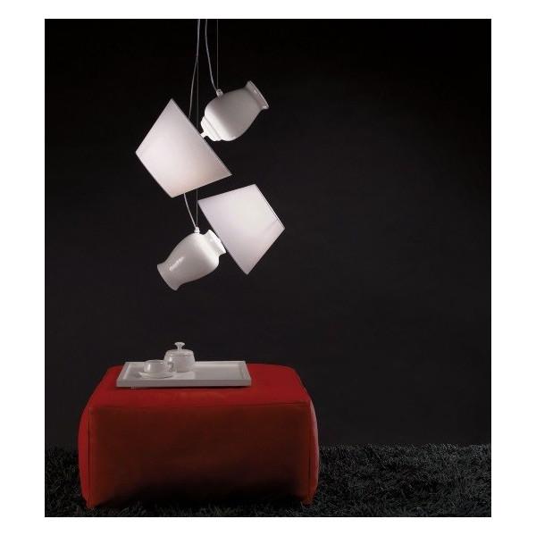 Lampe à suspension Novecento C1 vases en céramique blanche et diffuseurs en tissu blanc 20W E27