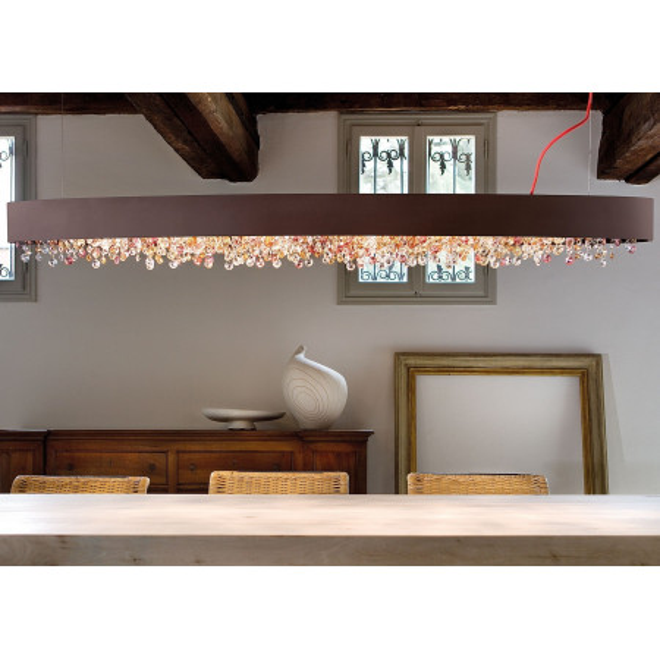 Olà S4 OV 100 lampe à suspension structure en métal peint et suspensions en verre peint 40W E14