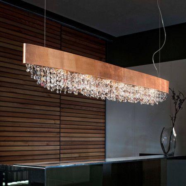 Olà S6 OV 160 lampe à suspension structure en métal peint et pampilles en verre peint 40W E14