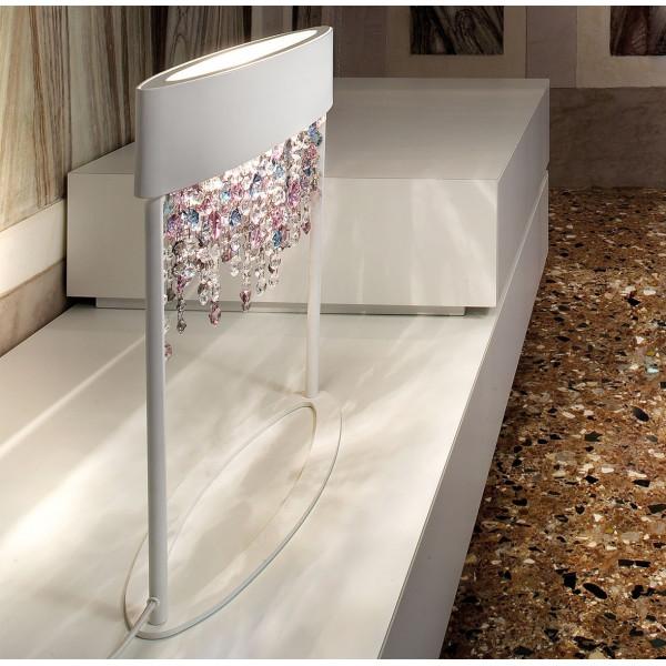 Olà TL2 lampada da tavolo struttura in metallo verniciato e pendagli in vetro verniciato 60W E27