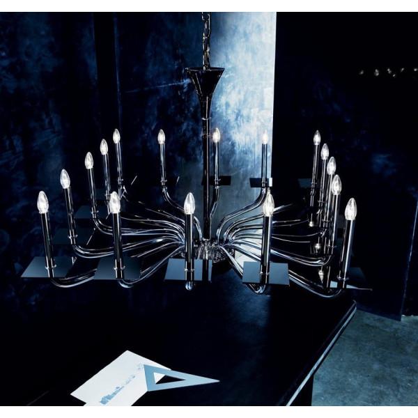 Lampe à suspension Tetra K16L en verre noir avec bras gris 46W E14