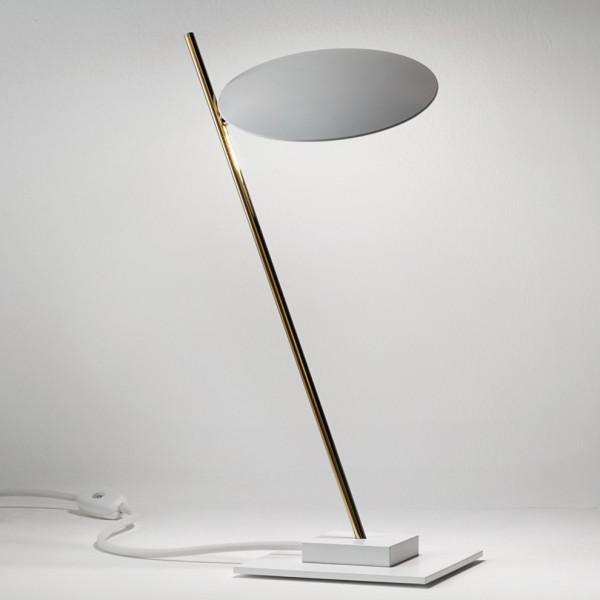 Lampe de table Lederam T1 tige et base métal et disque aluminium Led 17W 2700K
