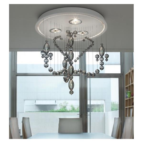 Diffuseur de lampe à suspension Veneziano 2.0 SP8 / 277 en cristal gris fumé