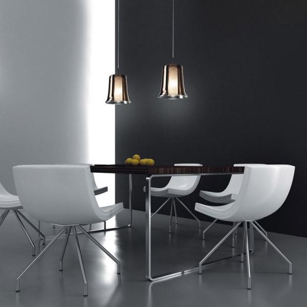Cloche Suspension lamp borosilicate glass diffuser 100W E27