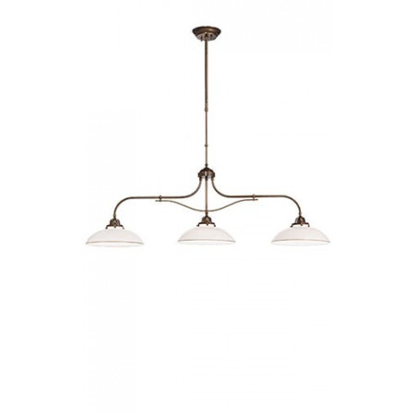 Country 3 luci lampada a sospensione in ottone e vetro soffiato bianco 46W E27