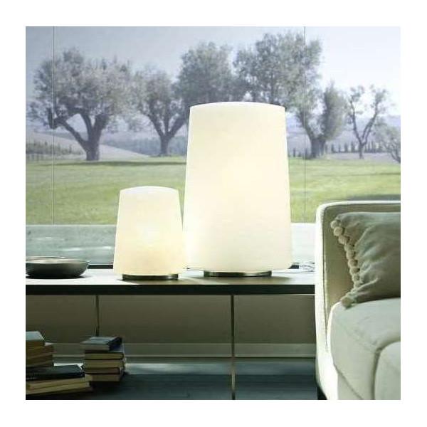 Diffuseur de lampe de table Polar Large en verre soufflé opalin blanc 100W E27
