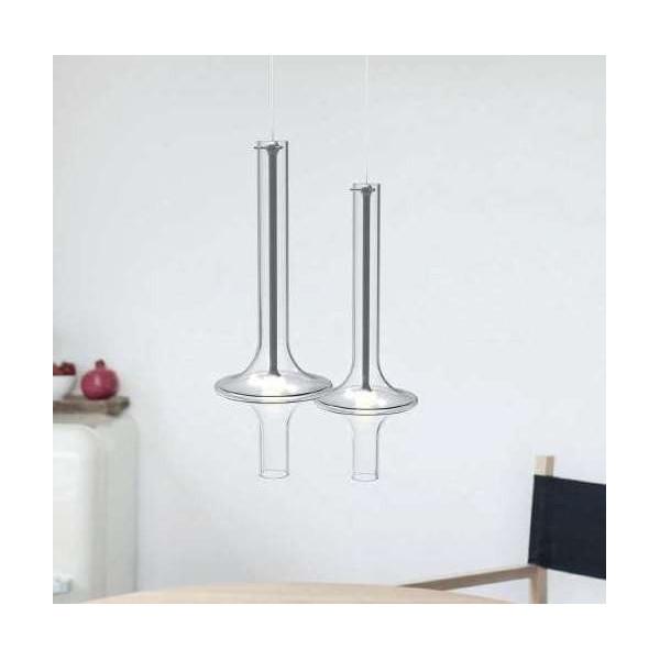 Lampe à suspension Wonder Mini en verre borosilicaté transparent et structure métallique