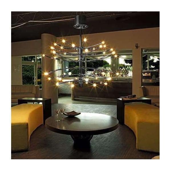 Lampe à suspension Vertigo 48 lumières avec structure en métal et diffuseurs en verre borosilicaté